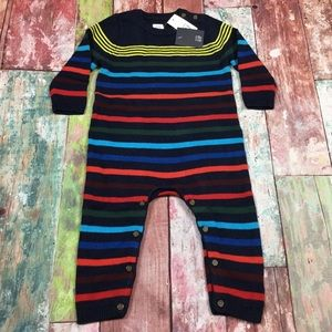 Baby Gap Boys Navy Blue & Striped Sweater Romper